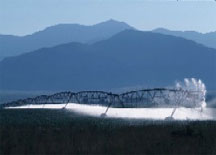 Image of sprinkler lines against mountain backdrop