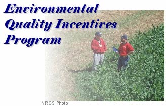 Environmental Quality Inventives Program: Photo of NRCS District Conservationist and farmer