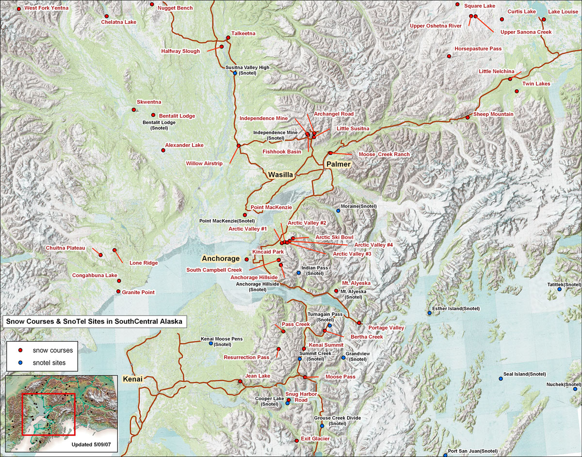 SNOTEL and Snow Course Sites in Southcentral Alaska | NRCS Alaska