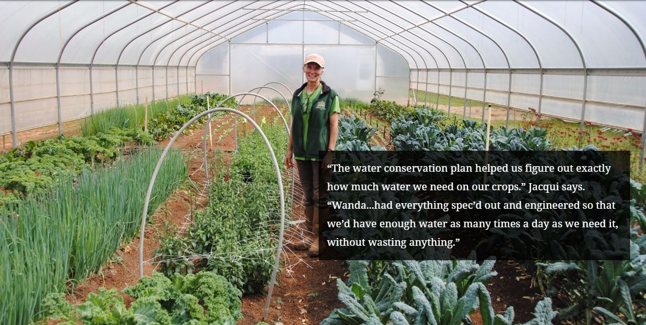 """The water conservation plan helped us figure out exactly how much water we need on our crops."" Jacqui says. ""Wanda...had everything spec'd out and engineered so that we' have enough water as many times a day as we need it, without wasting anything."""