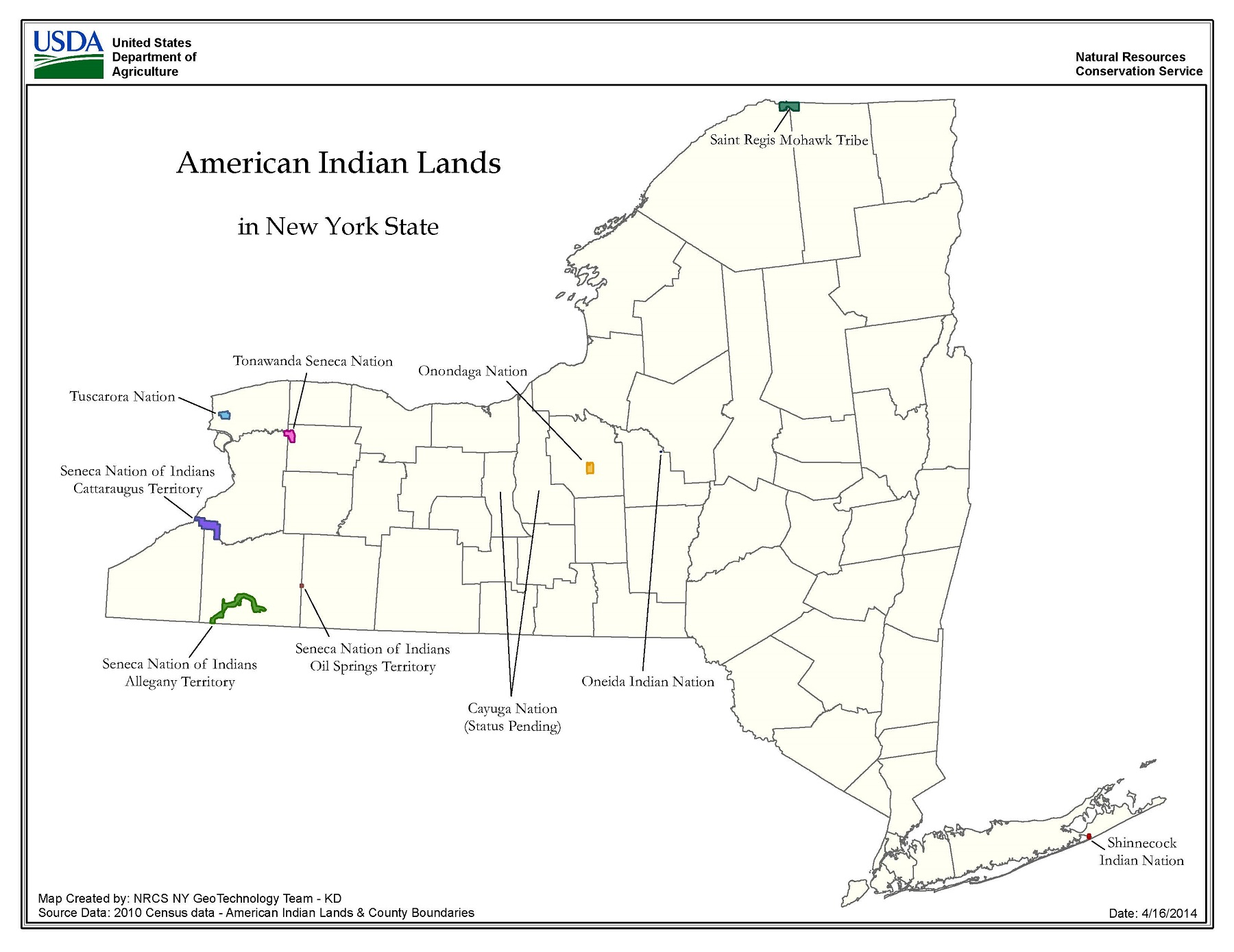 Map of American Indian Lands in New York State