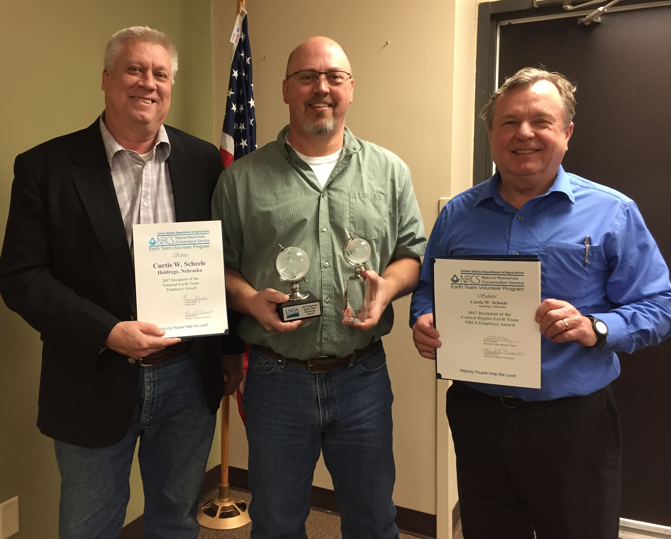 ET NRCS Employee winner Curtis Scheele, Kevin Breece and NE State Conservationist Craig Derickson