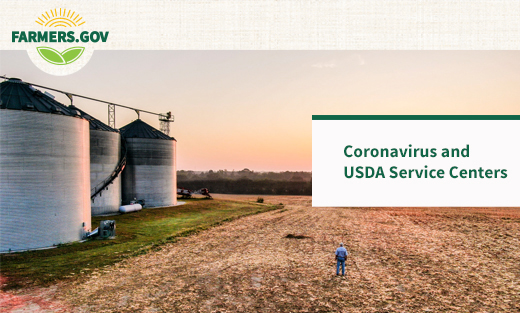 Image of a farm and text saying Coronavirus and USDA Service Centers