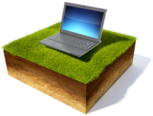 Laptop on a soil cross section.
