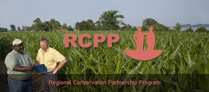 NRCS planner in the field with a producer discussing RCPP