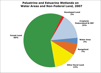 Pie chart of Palustrine and Estuarine wetlands on water areas and non-Federal 
