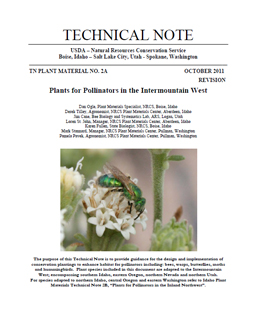 Cover of Plants for Pollinators in the Intermountain West
