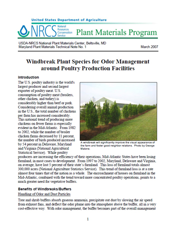 Cover of Windbreak Plant Species for Odor Management Around Poultry Production Facilities