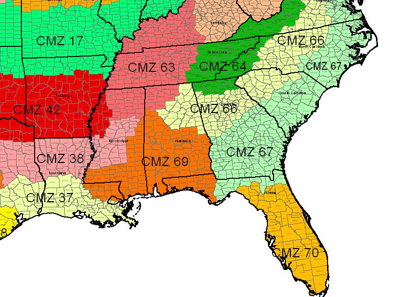 Crop Management Zones - Southeast