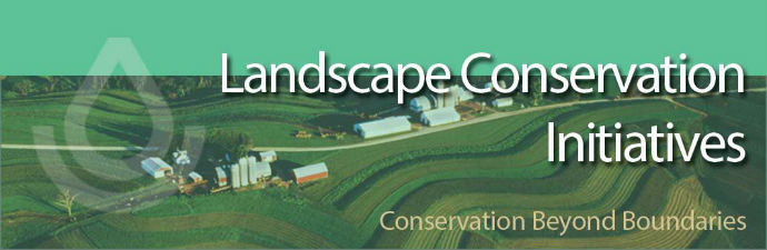landscape initiatives banner split three ways: water quality, at  risk species, ecosystem initiative